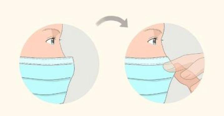 تنظیم قسمت روی بینی ماسک